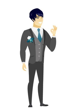 Asian smiling groom showing an ok sign. Young cheerful groom in a wedding suit making an ok sign. Happy groom gesturing an ok sign. Vector flat design illustration isolated on white background.