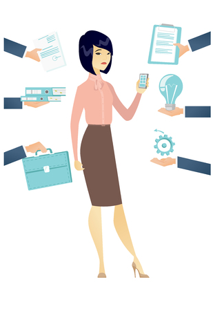 affairs: Asian hard working business woman. Hard working business woman surrounded by many hands that give her a lot of work. Hard working concept. Vector flat design illustration isolated on white background.