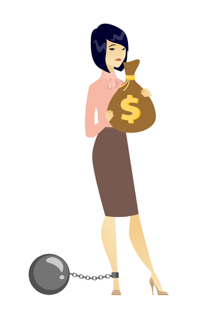 taxpayer: Captive taxpayer holding bag with taxes. Asian business woman taxpayer holding bag with dollar sign. Concept of tax time and taxpayer. Vector flat design illustration isolated on white background.