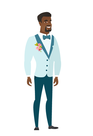 length: Young african-american confident groom in a wedding suit. Full length of confident groom. Groom standing in a pose signifying confidence. Vector flat design illustration isolated on white background.