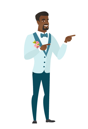 fiance: African-american groom in a wedding suit pointing to the side. Groom pointing his finger to the side. Groom pointing to the right side. Vector flat design illustration isolated on white background. Illustration