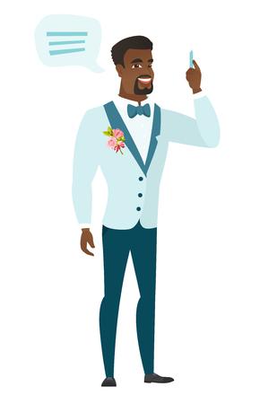 African-american novio con una burbuja de discurso. Toda la longitud del novio joven dando un discurso. Goom con una burbuja de discurso saliendo de su cabeza. Vector ilustración de diseño plano aislado sobre fondo blanco.