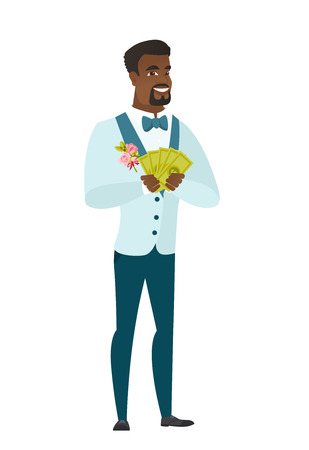 length: Happy african-american groom holding money. Excited groom in a wedding suit standing with money in hands. Full length of groom with money. Vector flat design illustration isolated on white background.