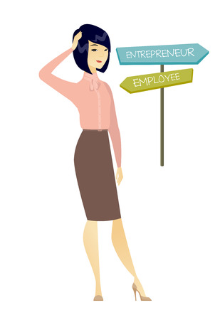 Young asian woman standing at road sign with two career pathways - entrepreneur and employee. Woman making a decision of her career way. Vector flat design illustration isolated on white background.