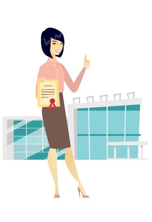 qualification: Young asian business woman showing a certificate. Full length of successful happy business woman holding certificate and giving thumb up. Vector flat design illustration isolated on white background.