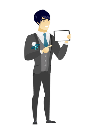 length: Asian bridegroom holding a tablet computer. Full length of bridegroom pointing at a tablet computer. Bridegroom with a tablet computer. Vector flat design illustration isolated on white background. Illustration