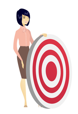 Asian business woman standing near a dart board. Young business woman and a dart board. Business competition and business goal concept. Vector flat design illustration isolated on white background.