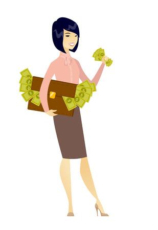 ビジネスの女性のブリーフケース、お金の側に立って、経済犯罪を犯してします。ビジネスの女性は、お金を盗みます。経済犯罪の概念。ベクトル