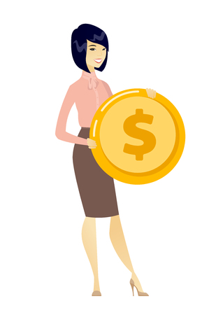Asian successful business woman with dollar golden coin in hands. Successful business woman holding golden coin. Business success concept. Vector flat design illustration isolated on white background. Illusztráció