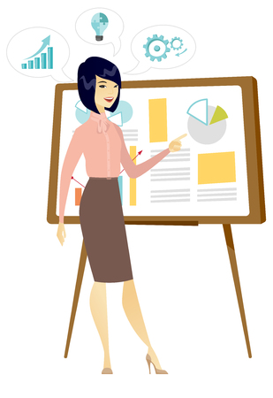 Business woman giving business presentation. Business woman pointing at charts on board during presentation. Business presentation concept. Vector flat design illustration isolated on white background Ilustração