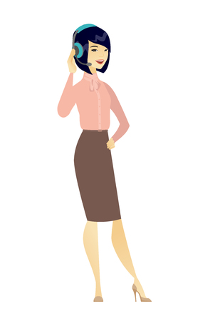 telephone cartoon: Asian customer service operator in headset with microphone. Full length of young customer service operator in headset with microphone. Vector flat design illustration isolated on white background. Illustration