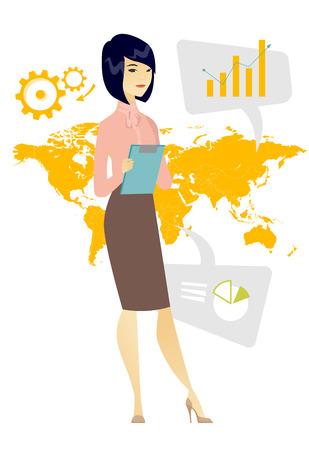 Bedrijfsvrouw die aan globale zaken deelnemen. Onderneemster die zich op de achtergrond van kaart bevindt. Wereldwijd business- en globaliseringsconcept. Vector platte ontwerp illustratie op een witte achtergrond. Stock Illustratie
