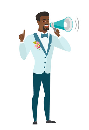 African-american groom with a megaphone making an announcement. Groom making an announcement through megaphone. Concept of announcement. Vector flat design illustration isolated on white background.