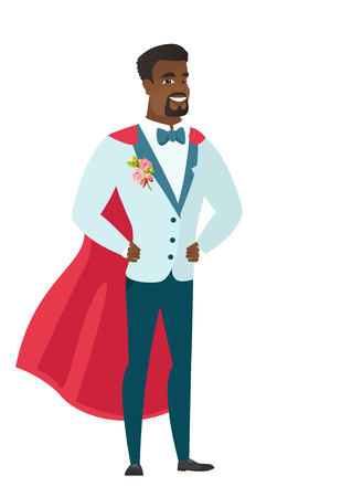 Young african groom wearing a red superhero cloak. Full length of groom dressed as a superhero. Successful groom superhero in red cloak. Vector flat design illustration isolated on white background.