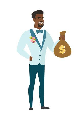 length: African-american groom showing a money bag with dollar sign. Full length of young groom with a money bag. Happy groom holding a money bag. Vector flat design illustration isolated on white background. Illustration