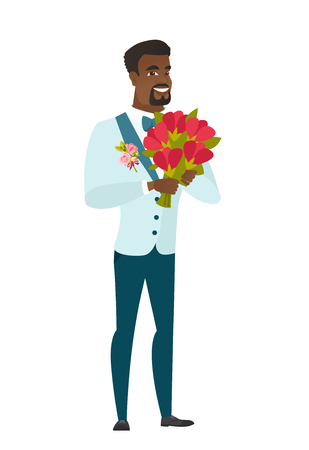 African groom in a wedding suit holding a bouquet of flowers. Full length of groom with a bouquet of flowers. Happy groom with flowers. Vector flat design illustration isolated on white background. Vectores