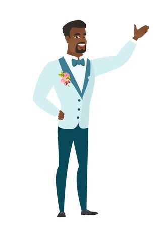 African-american groom showing a direction. Full length of groom in a wedding suit pointing at something and showing a direction by hand. Vector flat design illustration isolated on white background.