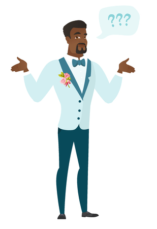 black man thinking: Confused groom with spread arms. Full length of confused groom with question marks. Confused groom in a wedding suit shrugging shoulders. Vector flat design illustration isolated on white background.