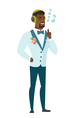 African-american groom listening to music in headphones. Full length of young groom with his eyes closed listening to music in headphones. Vector flat design illustration isolated on white background.