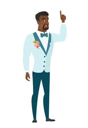 came: African-american bridegroom with open mouth pointing finger up. Full length of bridegroom with open mouth came up with successful idea. Vector flat design illustration isolated on white background.