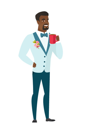 length: African-american groom holding a cup of coffee. Full length of groom in a wedding suit drinking coffee. Happy groom with cup of coffee. Vector flat design illustration isolated on white background.