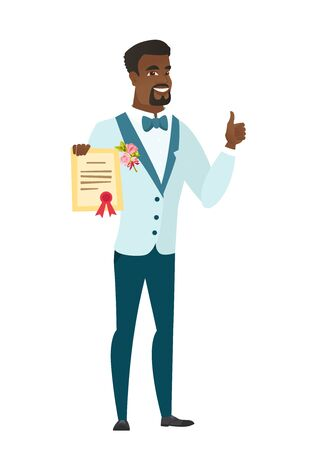 qualification: African-american groom holding a certificate. Full length of groom with a certificate. Happy groom showing a certificate and thumbs up. Vector flat design illustration isolated on white background.