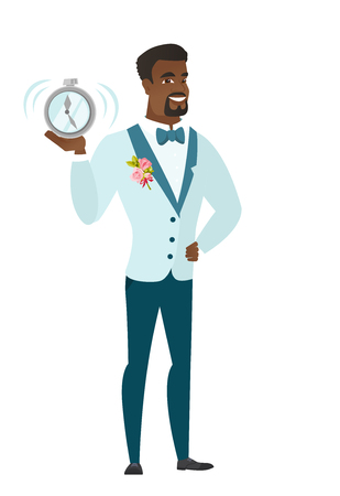 African groom in a wedding suit showing a ringing alarm clock. Full length of groom with an alarm clock. Groom holding an alarm clock. Vector flat design illustration isolated on white background.