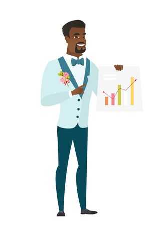 fiance: African-american groom giving a business presentation and showing a financial chart. Full length of groom pointing at a financial chart. Vector flat design illustration isolated on white background.