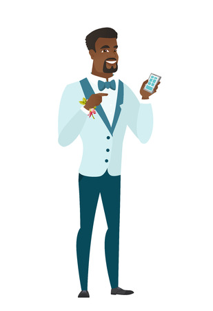 length: African-american groom holding a mobile phone and pointing at it. Full length of groom with a mobile phone. Groom using a mobile phone. Vector flat design illustration isolated on white background. Illustration