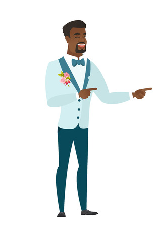 African groom indicating with two fingers to the side. Full length of young groom in a wedding suit pointing with two fingers to the side. Vector flat design illustration isolated on white background. Illustration