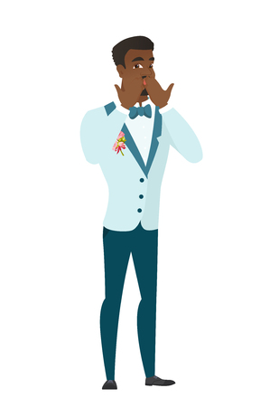 shoked: Shoked african-american groom covering his mouth with hands. Full length of young shoked groom. Groom with a shocked facial expression. Vector flat design illustration isolated on white background.