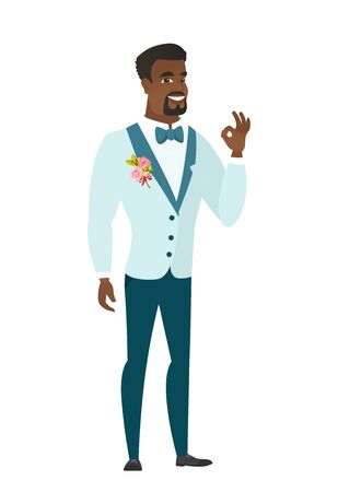 alright: African-american smiling groom showing an ok sign. Young cheerful groom in a wedding suit making an ok sign. Groom gesturing an ok sign. Vector flat design illustration isolated on white background.
