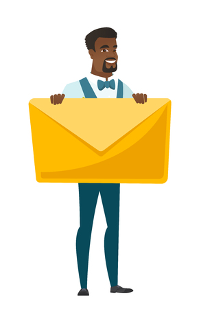 length: African groom in a wedding suit holding a big envelope. Full length of groom holding a big envelope. Cheerful groom with a big envelope. Vector flat design illustration isolated on white background.