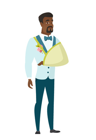 Injured african-american bridegroom wearing an arm brace. Bridegroom with broken arm in sling. Full length of bridegroom with broken arm. Vector flat design illustration isolated on white background. Illustration