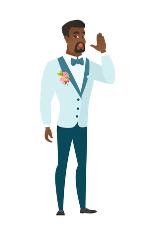 Young african groom lost and calling for help. Full length of groom in a wedding suit calling for help. Groom in trouble calling for help. Vector flat design illustration isolated on white background.