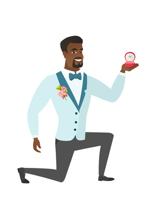 African-american smiling groom holding a red gift box with a diamond ring. Young happy groom kneeling and holding wedding ring in a box. Vector flat design illustration isolated on white background. Illustration