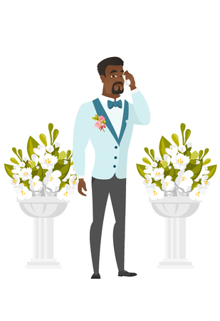 Young african sorrowful groom in a suit crying during wedding ceremony. Sad groom waiting for a bride and crying in front of wedding altar. Vector flat design illustration isolated on white background Illustration