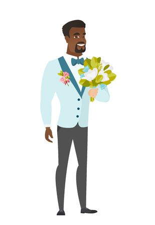 Young african-american groom with a bridal bouquet. Merry smiling groom in a suit holding a wedding bouquet. Vector flat design illustration isolated on white background.