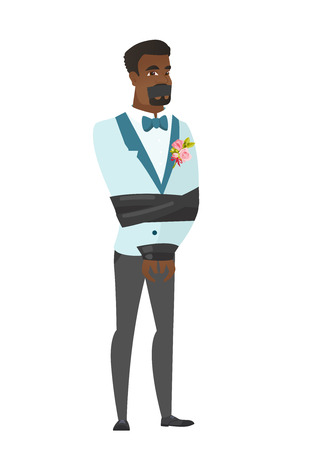 African-american groom tied up with rope and gagged with adhesive tape. Groom taken hostage. Groom with tape on his mouth and bound hands. Vector flat design illustration isolated on white background.
