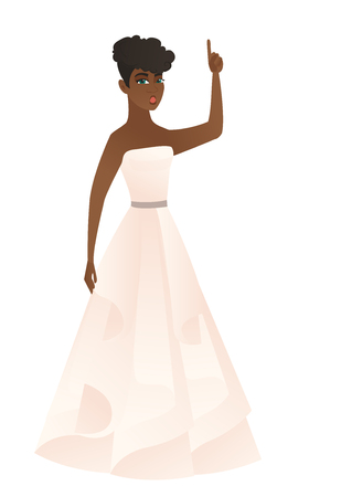 festivity: African fiancee with open mouth pointing finger up. Full length of fiancee in white dress with open mouth came up with successful idea. Vector flat design illustration isolated on white background.