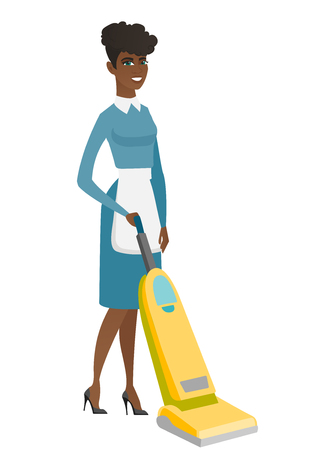 hotel staff: African hotel female chambermaid in uniform cleaning floor with a vacuum cleaner. Full length of young chambermaid with a vacuum cleaner. Vector flat design illustration isolated on white background.