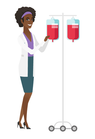 transfusion: African-american professional doctor preparing drop counter. Full length of doctor standing near drop counter. Doctor with drop counter. Vector flat design illustration isolated on white background.