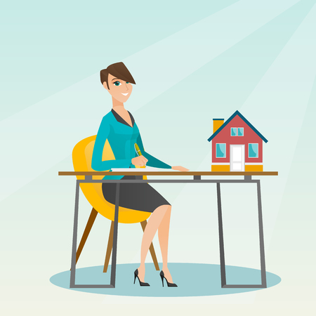 Real estate agent signing home purchase contract.