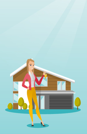 Young caucasian homeowner with key. Illustration