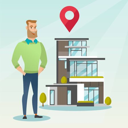 Realtor on background of house with map pointer.