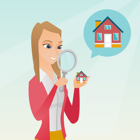 seeking: Young caucasian woman looking for a house. Illustration