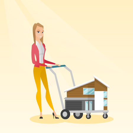 Caucasian delighted woman buying a house. Illustration