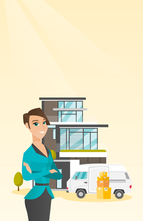 Young caucasian woman moving to a house. Illustration