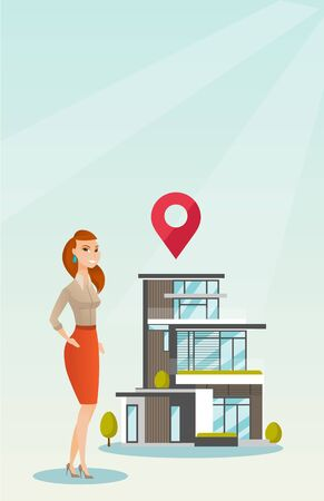 A realtor on the background of a house with map pointer.