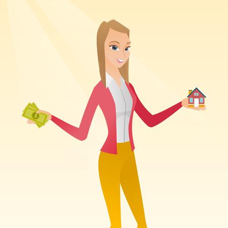 thru: Illustration of Caucasian woman buying a house thru credit loan.